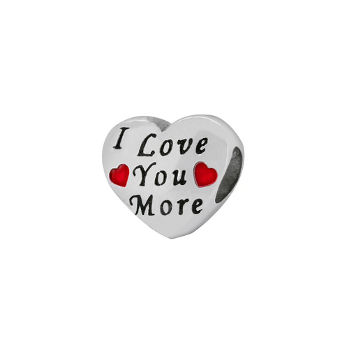 "ZABLE ""I Love You More"" Heart Bead Charm BZ-2282, fits pandora, compatible with pandora."