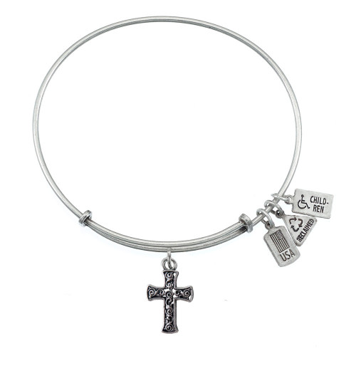 "Wind and Fire 3D ""Cross"" Charm with Bangle WF-506"