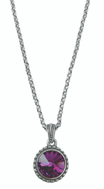 February Silver Wind and Fire birthstone necklace with adjustable chain.