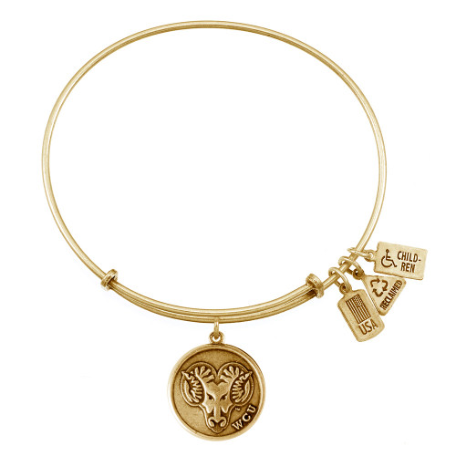 """Wind and Fire """"West Chester University - WCU Golden Rams"""" Charm with Bangle WF-651"""