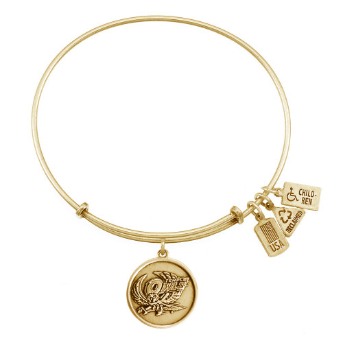 "Wind and Fire ""Temple U Temple Owls"" Charm with Bangle WF-660"