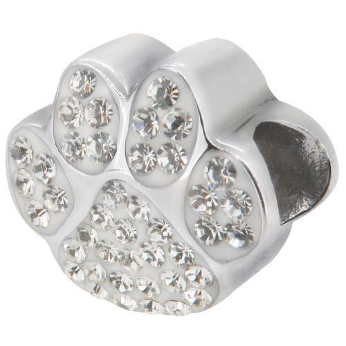 Zable bead charm white crystal studded Paw Print, cat, dog, fits Pandora, compatible with Pandora