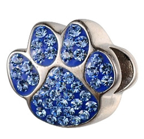 ZABLE Blue Crystal Cat or Dog Paw Print Bead Charm BZ-2295