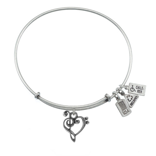 """Wind and Fire """"Music Heart"""" 3D Charm with Bangle WF-549"""