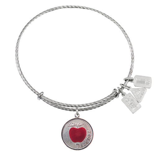 Sterling Silver Wind and Fire Teacher with Apple Charm with Bangle WF-334SS
