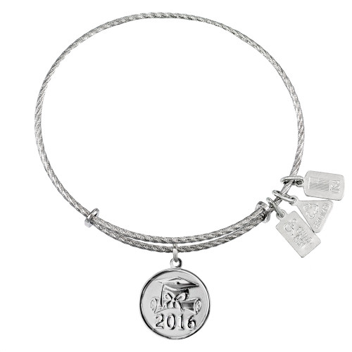 """Sterling Silver Wind and Fire """"Graduation Cap 2016"""" Charm with Bangle WF-380SS (Retired)"""