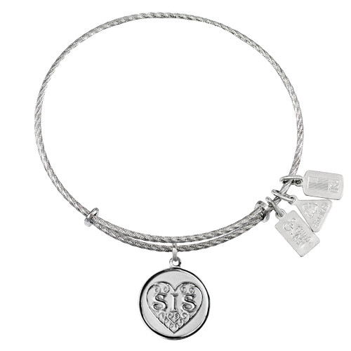 """Sterling Silver Wind and Fire """"SIS""""  Filigree Heart Charm with Bangle WF-289SS"""