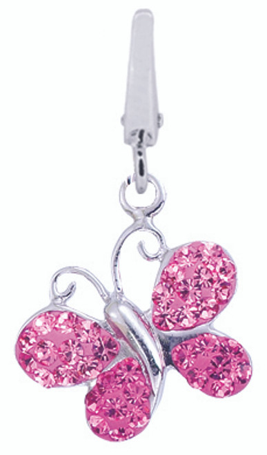 ZABLE Pink Butterfly Swarovski Crystal Bead Charms LC-297, fits Pandora, compatible with pandora