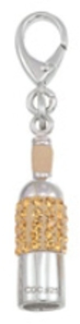 LC-301 Zable white wine bottle charm with swarovski crystals