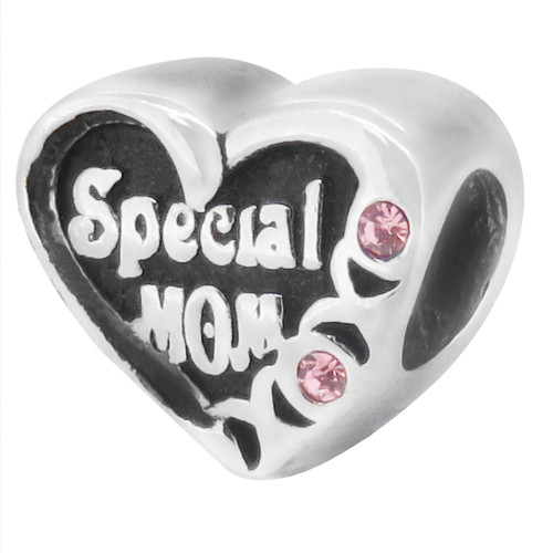 ZABLE Special Mom Heart with Pink CZ Bead Charm BZ-1649, fits pandora, compatible with pandora.