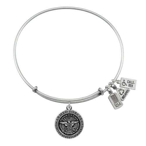 """Wind and Fire """"U.S. Armed Forces"""" Charm with Bangle WF-398"""