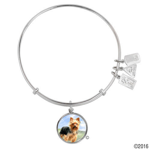 "Wind and Fire ""Yorkshire Terrier Dog"" Enamel Painted Charm with Bangle WF-754"