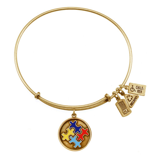 Wind and Fire Autism Speaks Puzzle Charm with Bangle WF-333C