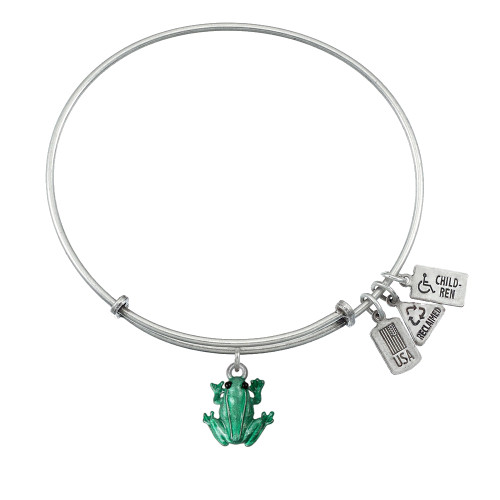 Wind and Fire 3D Green Enamel Frog Charm with Bangle WF-558