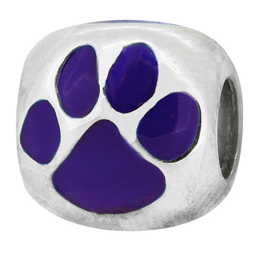 ZABLE Enamel Purple Cat or Dog Paw Print Bead Charm BZ-974 fits Pandora