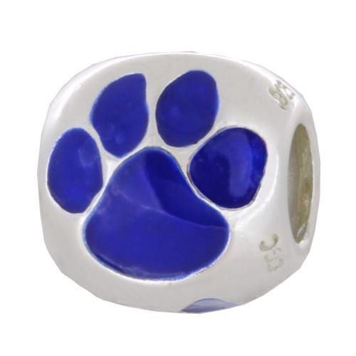 ZABLE Enamel Blue Cat or Dog Paw Print Bead Charm BZ-977 fits Pandora