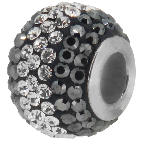 ZABLE Hematite and White Crystal Studded Bead Charm BZ-1232