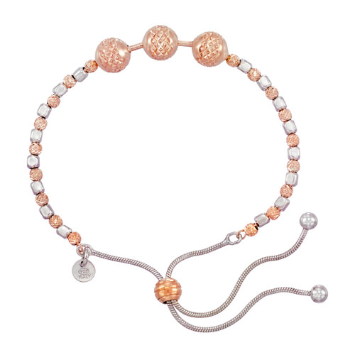 Franco Stellari™ of Italy Sterling Silver and Rose Finish Bolo Bracelet SS3627