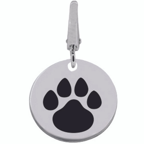 Authentic ZABLE Black Paw Engraveable Clip-on Charm SS5102