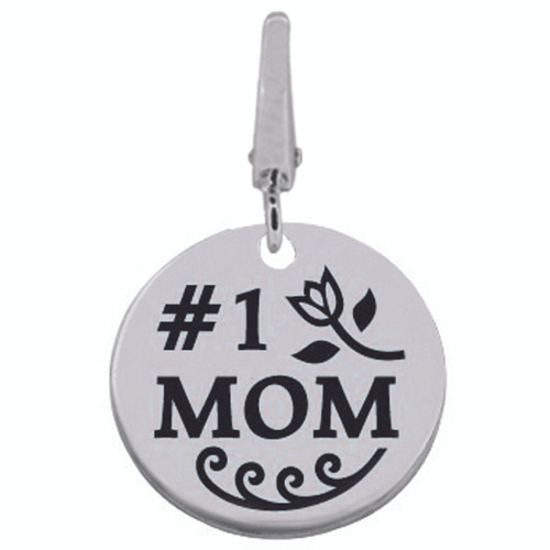 Authentic ZABLE #1 MOM Engraveable Clip-on Charm SS5187