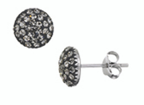 ZABLE  Black Crystal Studded Earrings Sterling Silver BZB-3005