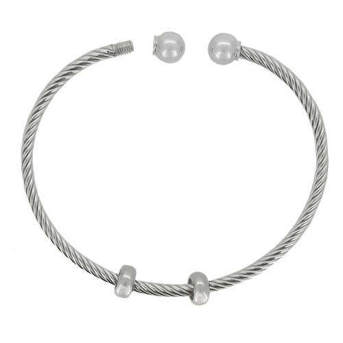 ZABLE Twisted Bangle Style Starter Bracelet w/ 2 Stoppers BZB-203