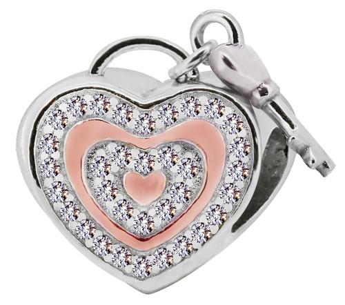 Zable Pink and swarovski crystal studded heart with key, fits Pandora