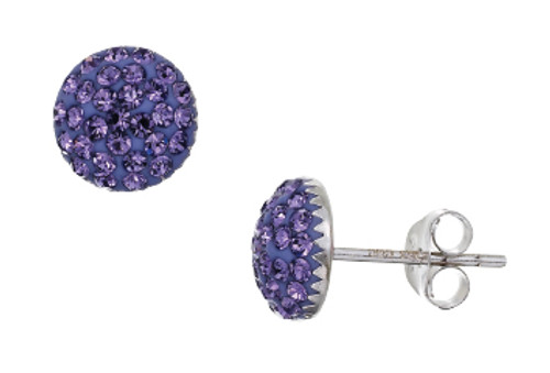ZABLE  Sapphire Crystal Studded Earrings Sterling Silver BZB-3001