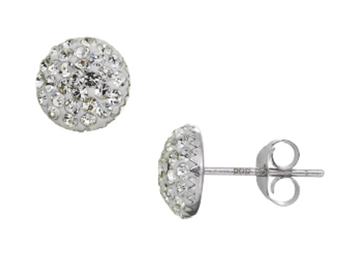 ZABLE  Clear Crystal Studded Earrings Sterling Silver BZB-3003