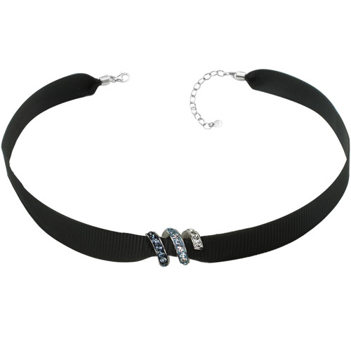 "ZABLE Black Ribbon Choker w/Blue Crystal Bead Adj 13"" to 15"" BZB-957"