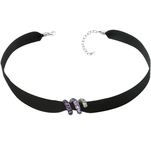 "ZABLE Black Ribbon Choker w/ Purple Crystal Bead Adj 13"" to 15"" BZB-959"