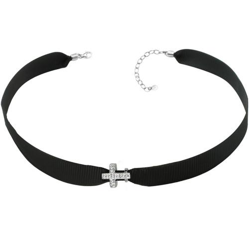 "ZABLE Black Ribbon Choker w/ Sideways Crystal Cross Bead Adj 13"" to 15"" BZB-971"