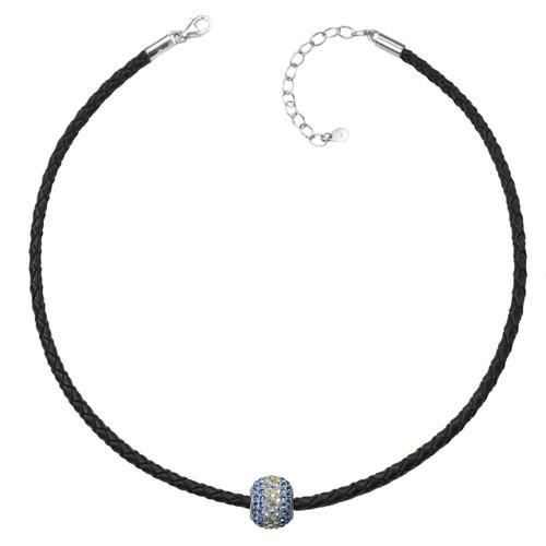 "ZABLE Black Braided Leather Choker w/ Blue Crystal Bead Adj. 13"" to 15"" BZB-972"