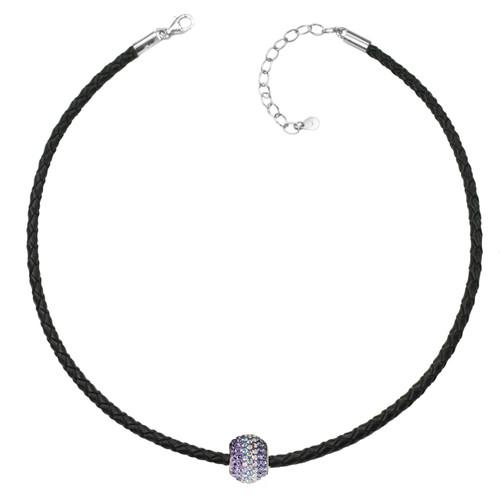 "ZABLE Black Braided Leather Choker w/ Purple Crystal Bead Adj. 13"" to 15"" BZB-974"