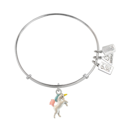 Unicorn Charm Bangle available in bright polished only. WF554 is compatible with Alex and Ani.