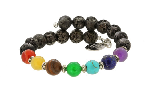 Wind and Fire Lava Wrap for Essential Oils/Perfume Bangle WF-862 8mm size compatible with Alex and Ani.