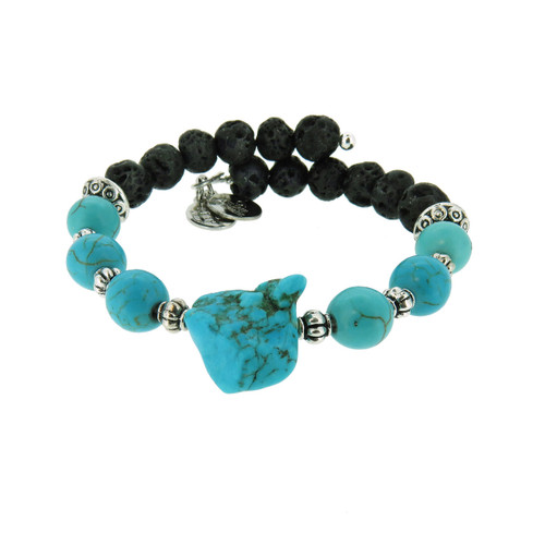 Wind and Fire Turquoise Lava Wrap for Essential Oils/Perfume Bangle WF-864 8mm size compatible with alex and ani.