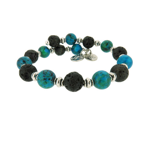 Wind and Fire Ocean Breeze Lava Wrap for Essential Oils/Perfume Bangle WF-865 8mm size compatible with alex and ani.
