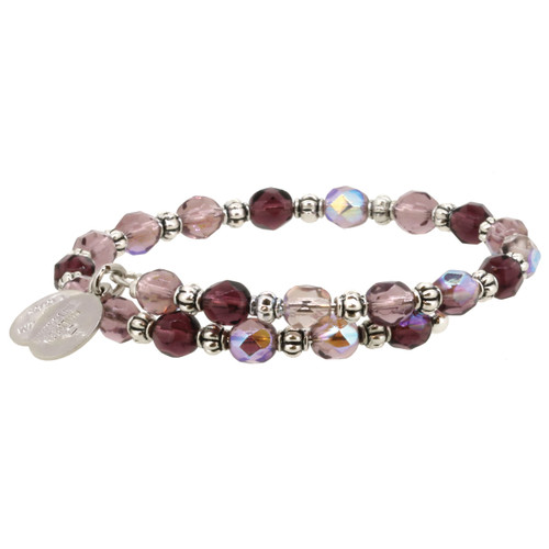 Wind and Fire Amethyst and Purple Swarovski Crystal Gemstone Wrap WF-817