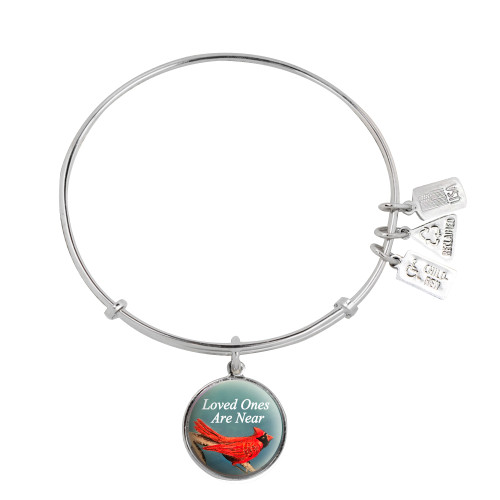"""WF-750 Cardinal disc with """"loved ones are near"""" Wind and Fire Charm Bangle"""