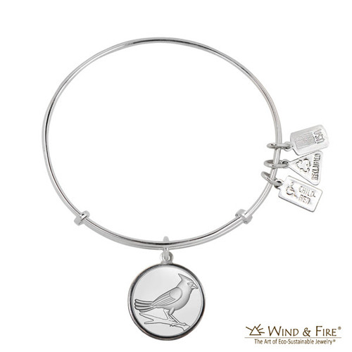 """Wind and Fire Adjustable Charm Bangle """"Cardinal"""" WF-383 fits all sizes"""