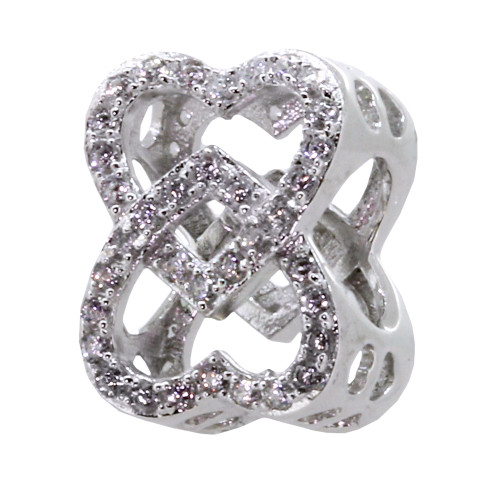 ZABLE Infinite Love hearts with Crystals BZ-2302. Compatible with Pandora, Chamilia, Trollbeads, BeCharmed, etc