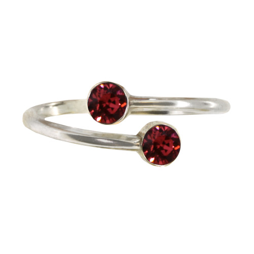 Wind and Fire January Swarovski Crystal Birthstone ring wrap. Fits all Sizes. Sterling silver, 18k rose gold over sterling silver and 18k yellow gold over sterling silver.