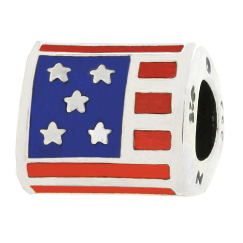 ZABLE USA Flag Enamel Bead Charm BZ-950 fits Pandora