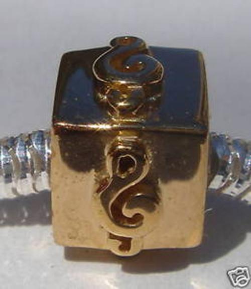 LOVELINKS 14k Gold Plated Swirly Square Bead Charm