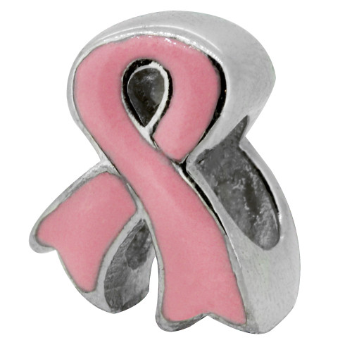 Zable bead charm Breast Cancer Awareness Ribbon, fits Pandora, compatible with Pandora