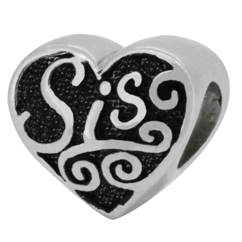 "ZABLE ""Sis"" Sister Heart Silver Bead Charm BZ-1704, fits pandora, compatible with pandora."