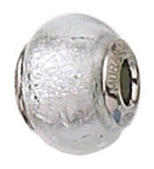 ZABLE Murano Glass Bead Charm Silver April BZ-1504