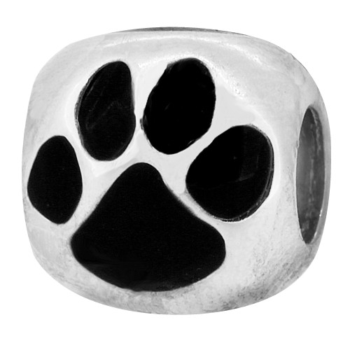 ZABLE Enamel Black Cat or Dog Paw Print Bead Charm BZ-931 fits Pandora