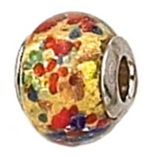 ZABLE Murano Glass Bead Charm BZ-1544 multi-colored party glass fits pandora, chamilia, etc.